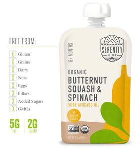 Organic Puree: 6 Pack of Butternut Squash & Spinach (6M) (3.5 oz)