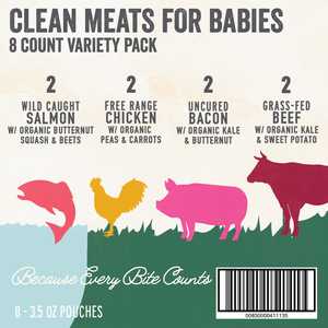 Organic Puree: 8 Pack of Meats Variety (6M) (3.5 oz)