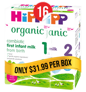 8 Boxes of HiPP UK Stage 1 (800g) and 8 Boxes of HiPP UK Stage 2 (800g)