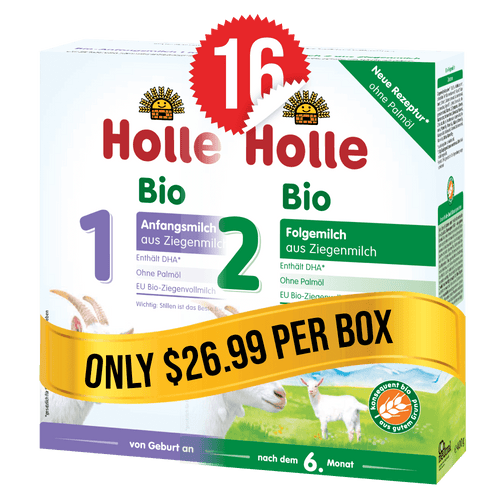 8 Boxes of Holle Goat Stage 1 (400g) and 8 Boxes of Holle Goat Stage 2 (400g)