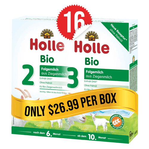8 Boxes of Holle Goat Stage 2 (400g) and 8 Boxes of Holle Goat Stage 3 (400g)