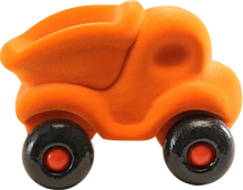 "Load image into Gallery viewer, Orange Dump Truck on Wheels (~4.5"")"