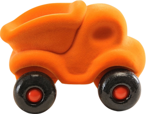"Orange Dump Truck on Wheels (~4.5"")"