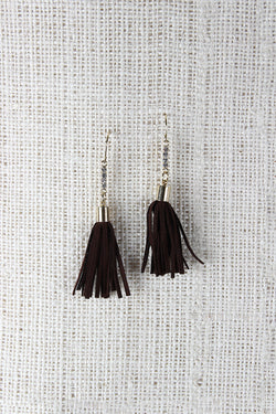 Faux Suede Tassel Dangle Earrings