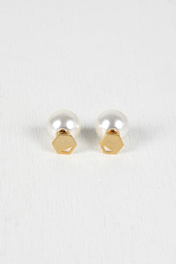 Cutout Hexagon And Pearl Double Sided Earrings