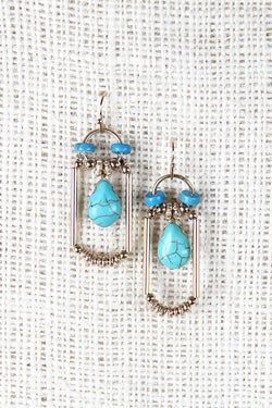 Framed Turquoise Drop Earrings