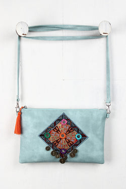 Embroidered Coins Convertible Crossbody Clutch