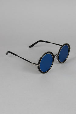 Metallic Trim Round Frame Sunglasses