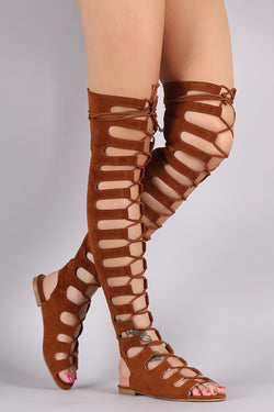 Suede Cutout Lace Up Gladiator Sandal