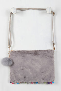 Furry Pom Pom Cross Body Pouch