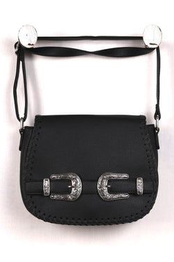 Engraved Belt Satchel Crossbody Bag