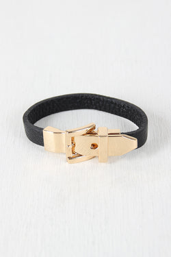 Metal Buckle Vegan Leather Bracelet