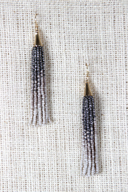 Gradient Bead Tassel Dangle Earrings