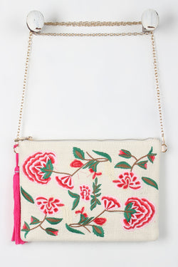 Embroidered Floral Tassel Bag