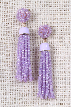 Beaded Cluster Tassel Dangle Earrings