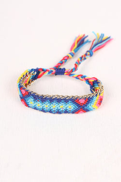 Colorful Threaded Chain Tassel Bracelet