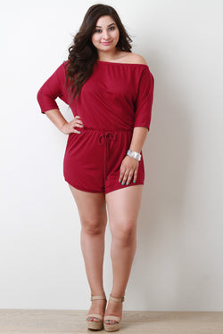 Off The Shoulder Three Quarter Sleeve Soft Knit Romper