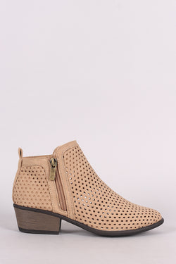 Bamboo Perforated Nubuck Almond Toe Ankle Boots
