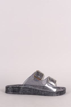 Wild Diva Lounge Glitter Buckled Jelly Slide Sandal