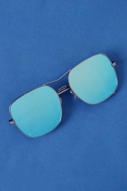 Metal Double Bridge Mirrored Sunglasses