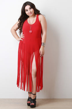 Fringe Sleeveless Bodysuit Maxi Dress