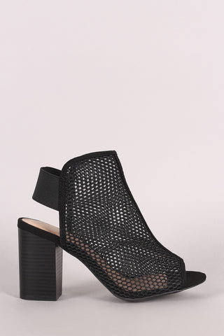 Wild Diva Lounge Perforated Mesh Peep Toe Chunky Heeled Booties