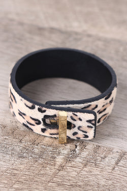 Leopard Faux Pony Hair Twist-And-Turn Cuff Bracelet