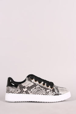 Bamboo Python Lace-Up Low Top Sneaker