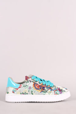 Bamboo Embroidered Floral Lace-Up Low Top Sneaker