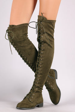 22b6da418840 Wild Diva Lounge Suede Lace Up Over-The-Knee Combat Boots