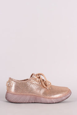 Bamboo Snakeskin Lace-Up Sneakers