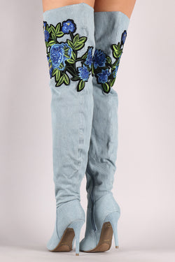 Anne Michelle Floral Patch Over-The-Knee Denim Stiletto Boots