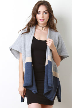 Short Sleeves Color Block Cardigan
