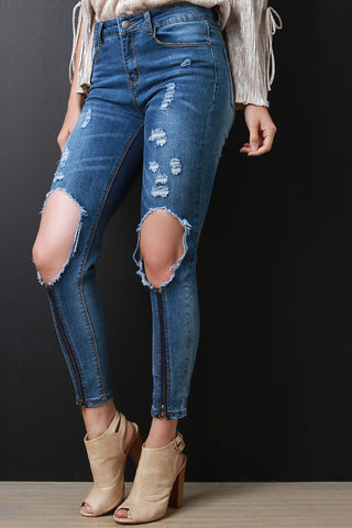 Zipper Trim Distressed Cutout Knee Skinny Ankle Jeans