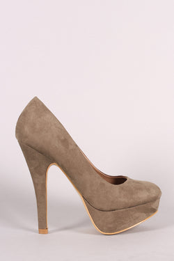 Suede Round Toe Stiletto Platform Pump