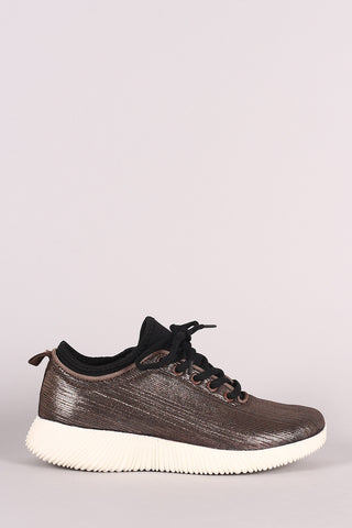 Qupid Metallic Textured Lace Up Rigged Sneaker