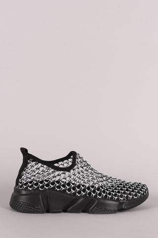 Fishnet Mesh Slip On Sneaker