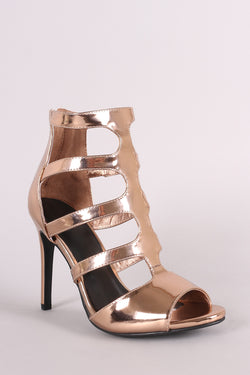 Anne Michelle Metallic Patent Caged Cutout Peep Toe Stiletto Heel