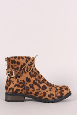Bamboo Leopard Buckled Lace-Up Combat Ankle Boots