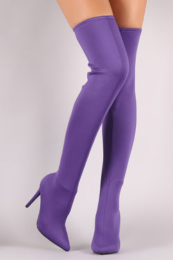 Anne Michelle Elastane Pointy Toe Stiletto Over-The-Knee Boots