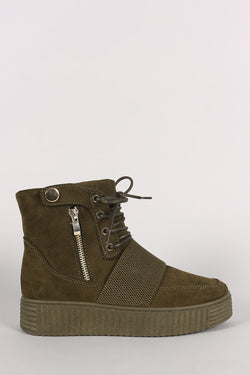 Bamboo Suede Zipper High Top Lace Up Creeper Sneaker Boots