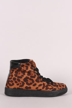 Bamboo Leopard Suede Lace-Up High Top Sneaker
