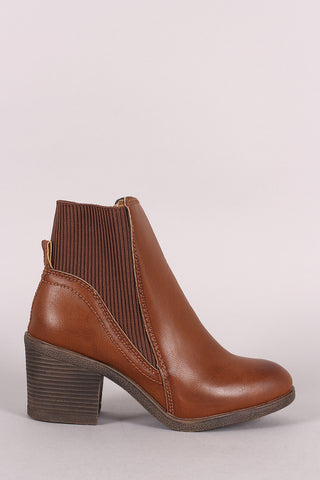 Bamboo Elastic Gore Back Panel Chunky Heeled Booties