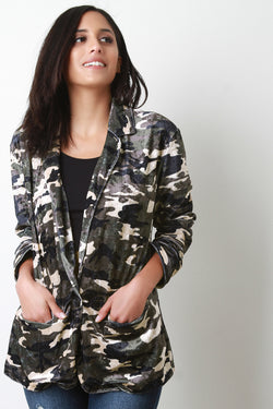Velvet Camouflage Single Button Blazer