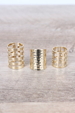Textured Caged Rings Set