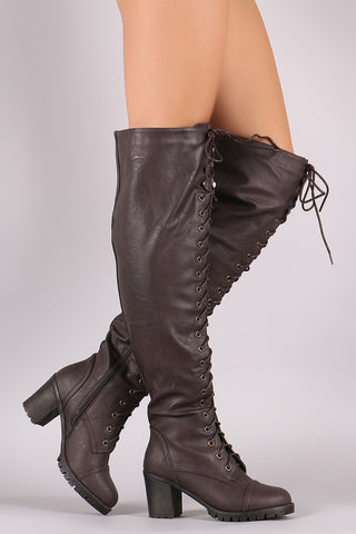 Lug Sole Over-The-Knee Platform Chunky Heeled Boots