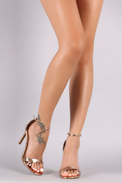 Anne Michelle Metallic Ankle Strap Single Sole Heel
