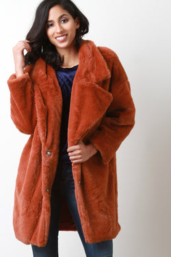 Oversize Lapel Collar Faux Fur Coat