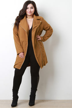 Notched Collar Longline Jacket