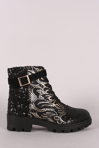 Bamboo Sequin Accent Military Lace-Up Lace Ankle Boots